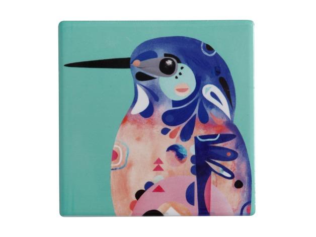 Maxwell & Williams: Pete Cromer Ceramic Square Tile Coaster (Azure Kingfisher)