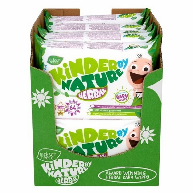 Kinder by Nature: Natural Herbal Wipes (Bulk 64 x 10)