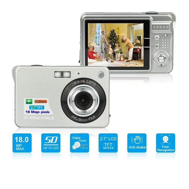 Ape Basics: Portable Mini 8x Zoom TFT LCD HD Digital Camera - Silver