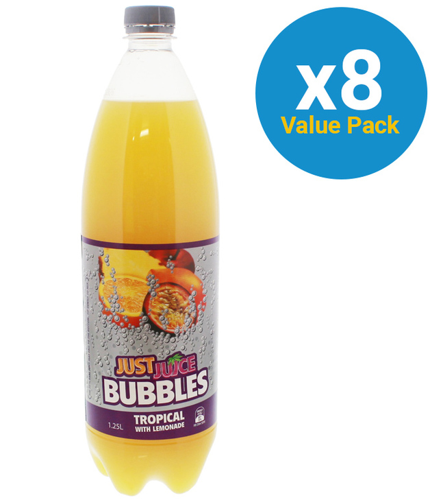 Just Juice Bubbles Tropical 1.25L (8 Pack)