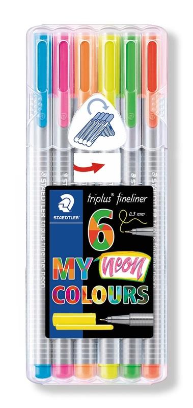 Staedtler: Triplus Fineliners 334 - Triangular Neon Pencils (Pack of 6)