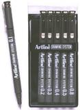 Artline Drawing System Pen Black 1-2-3-4-5-8 (6 Pack)