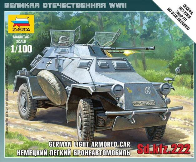 Zvezda: 1/100 SD. KFZ.222 Armoured Car - Model Kit