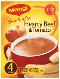 MAGGI Soup for a Cup Hearty Beef & Tomato 62g 4pk