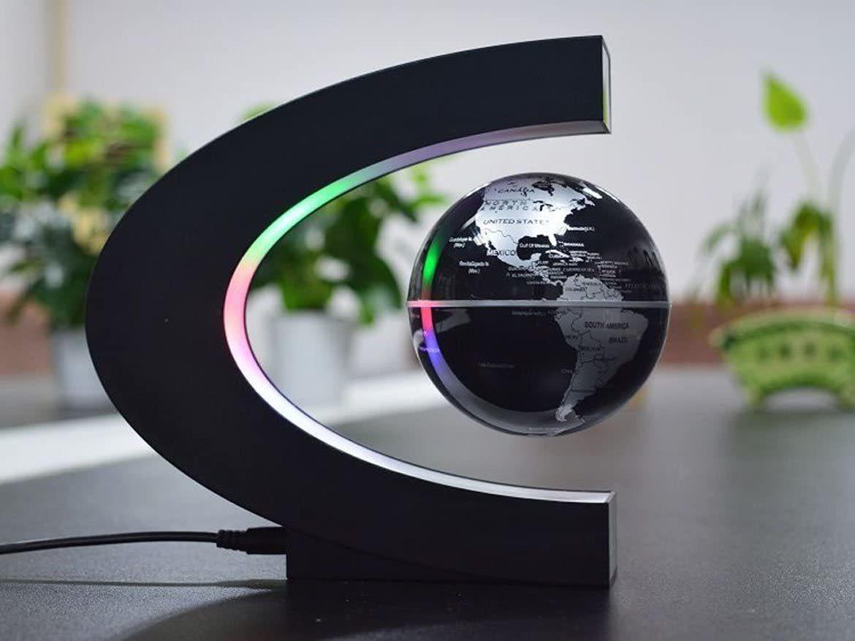 Ape Basics: Floating Globe with LED Lights C Shape Magnetic Levitation Floating Globe World Map for Desk Decoration image