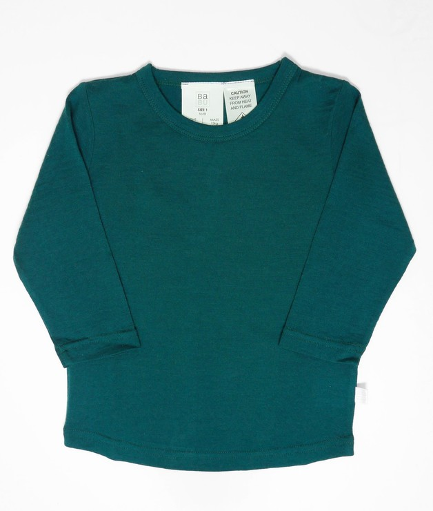 Babu: Merino Crew Neck Long Sleeve T-Shirt - Tui Green (1 Year)