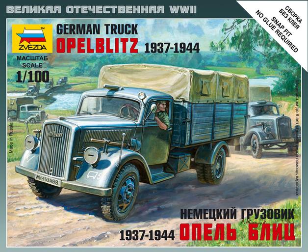 Zvezda: 1/100 German 3T Truck - Model Kit