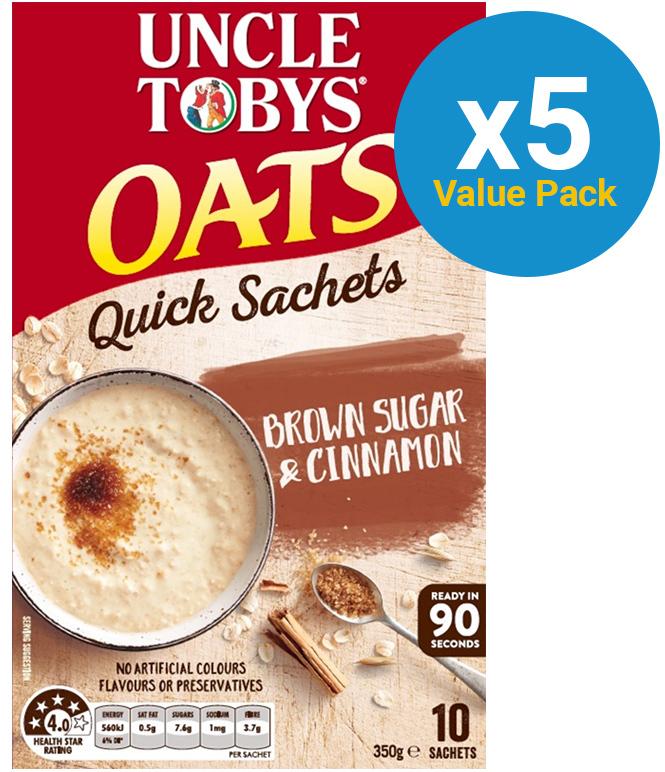 Uncle Tobys Oats (Brown Sugar & Cinnamon, 350g) 5pk image