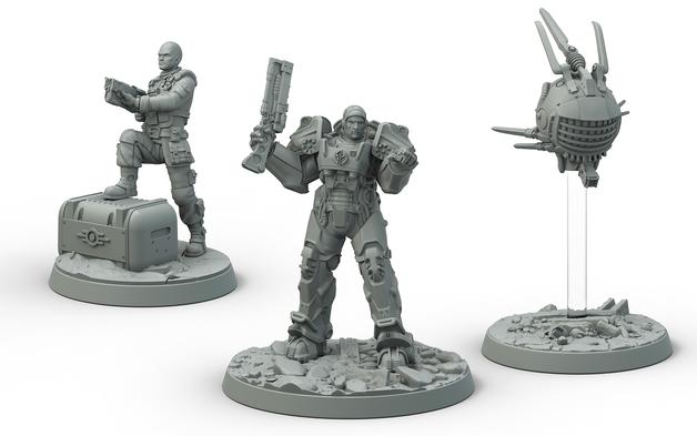 Fallout: Wasteland Warfare Brotherhood of Steel Knight-Captain Cade and Paladin Danse