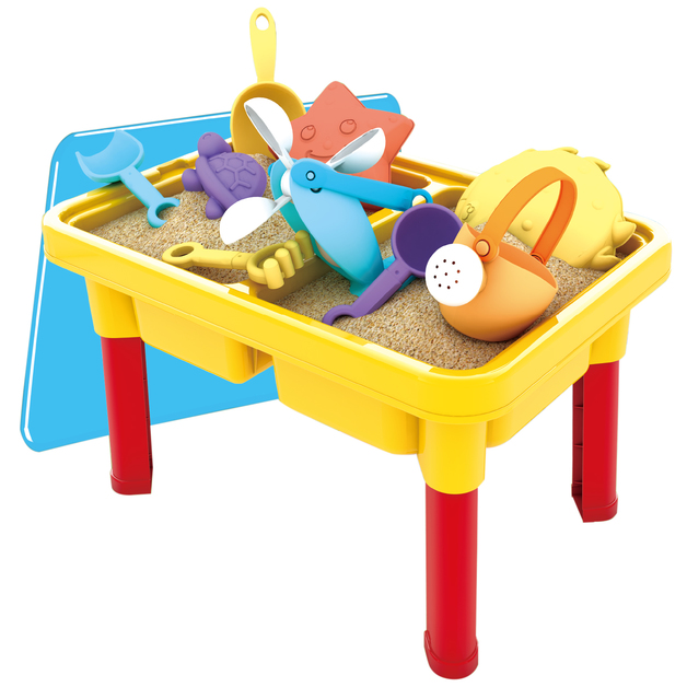 Sand Play Table & Toys - 15 piece set