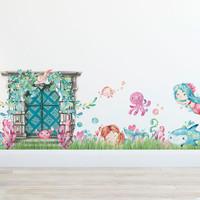 Mermaid Magical Village Wall Decal