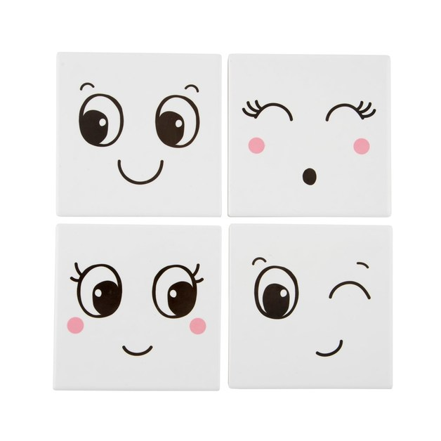 Fun Faces Coasters (Set Of 4)