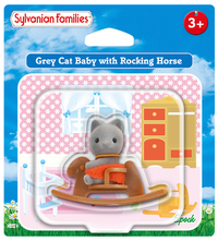 Sylvanian Families: Gray Cat Baby with Rocking Horse image