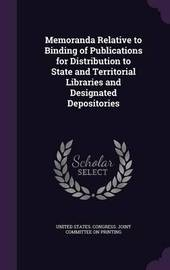 Memoranda Relative to Binding of Publications for Distribution to State and Territorial Libraries and Designated Depositories image