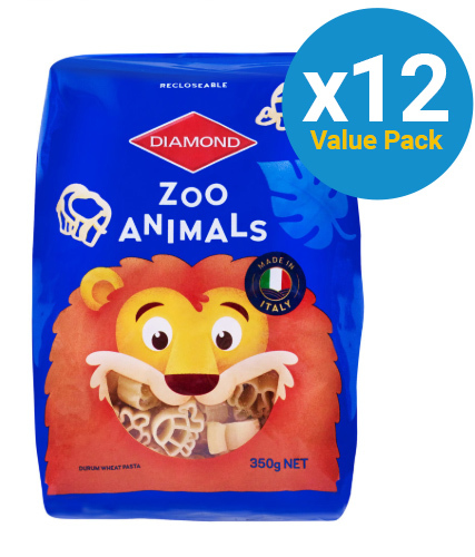 Diamond: Zoo Animals Pasta 350g (12 Pack)