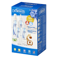 Dr Brown's Gift Set - 4 Bottles, Pacifier, Teether, Bottle Brush (Blue)