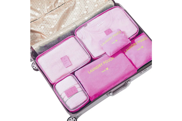Jet Set Travel Organiser Set - Pink (6 Piece Set)