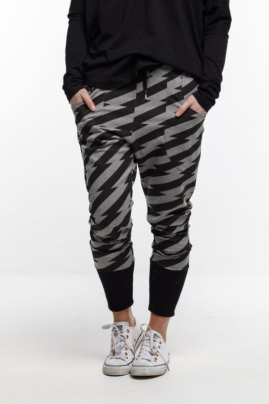 Home-Lee: Relaxer Pants - Lightning With Black Cuffs - 8