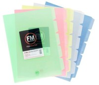 FM A4 5-Tab L Shape Pockets - Blue (Pack 5)