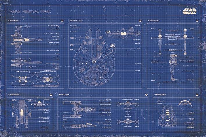Star Wars Rebel Alliance Fleet Blueprint Wall Poster 240