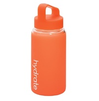 Hydrate Glass Bottle with Silicone Sleeve - Orange