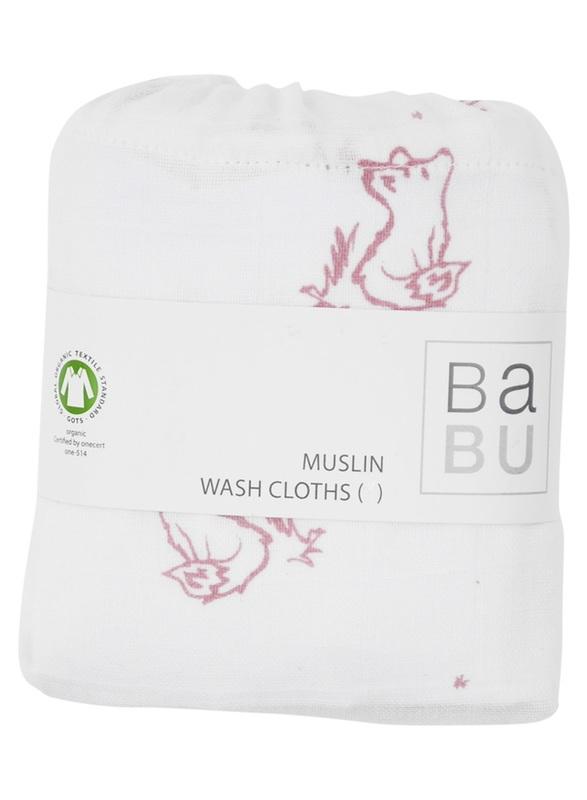 Babu: Organic Cotton - Muslin Burp Cloths 2-Pack (Pink Fox)