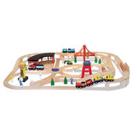 Melissa & Doug: Wooden Railway Set - 132 Pieces