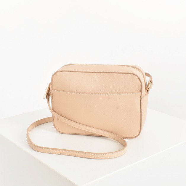 Adorne: Textured Camera Bag - Nude