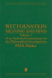 Wittgenstein: Meaning and Mind by P.M.S. Hacker image