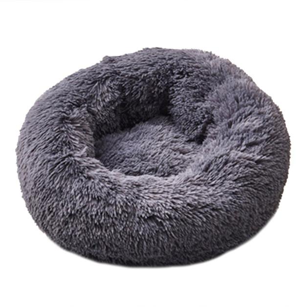 Ape Basics: Long Plush Warm Round Pet Bed - Dark Gray (Large)