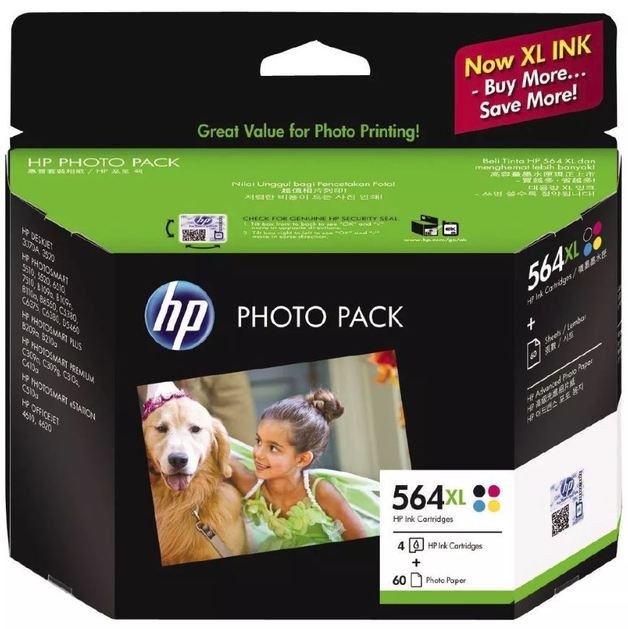 HP 564XL Photo Paper Value Pack CMYK 4x6 60sheet