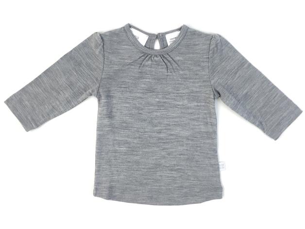 Babu: Merino Ruffle Long Sleeve T-Shirt - Grey (3-6m)