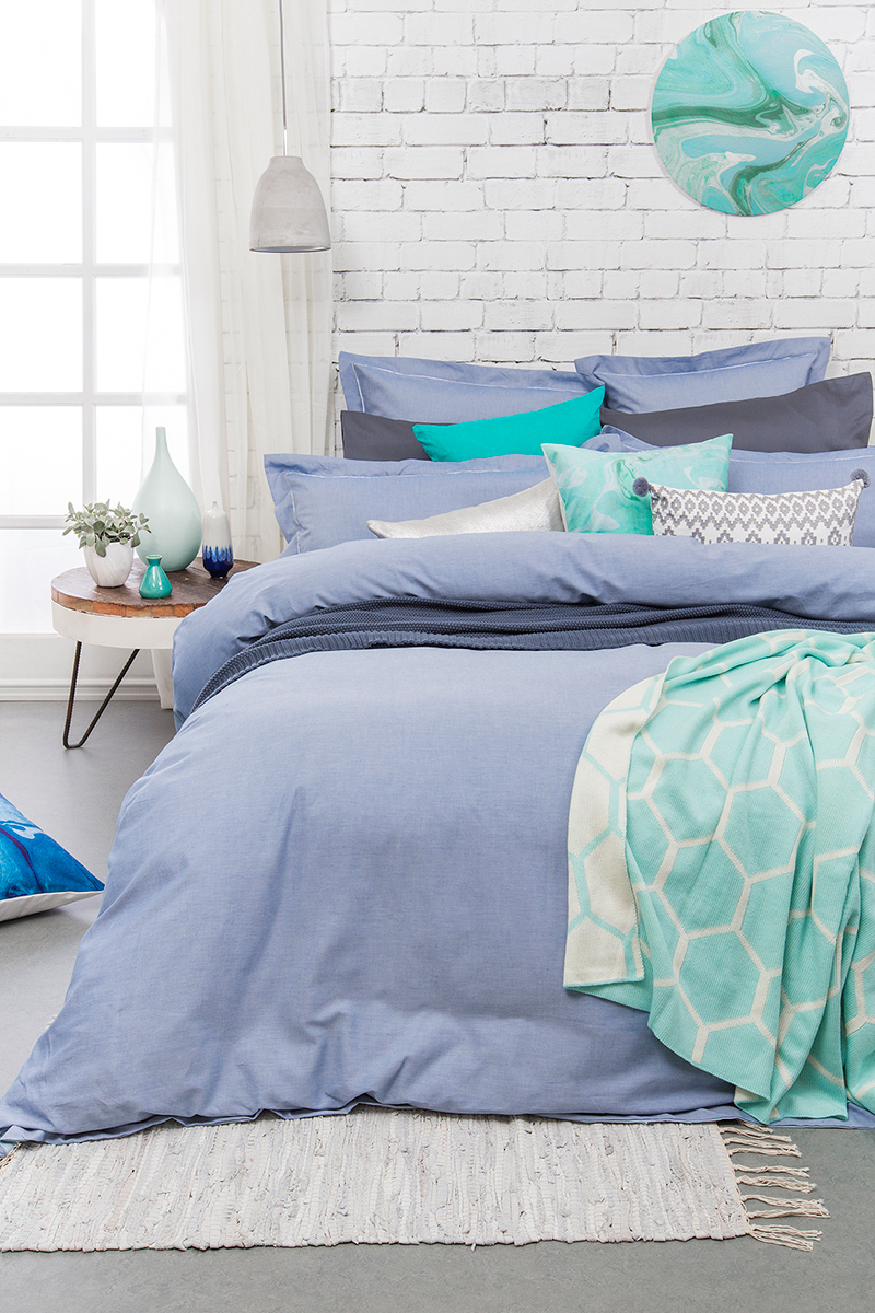 Bambury Super King Quilt Cover Set (Charleston Blue) image
