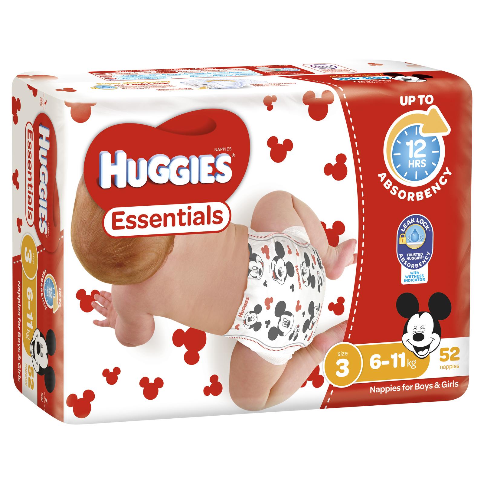 Huggies Essentials Nappies Bulk - Size 3 Crawler (52) image