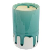 Crackle Glaze Scented Candle in Holder - Coastal Teal- (Citrus Bergamot)