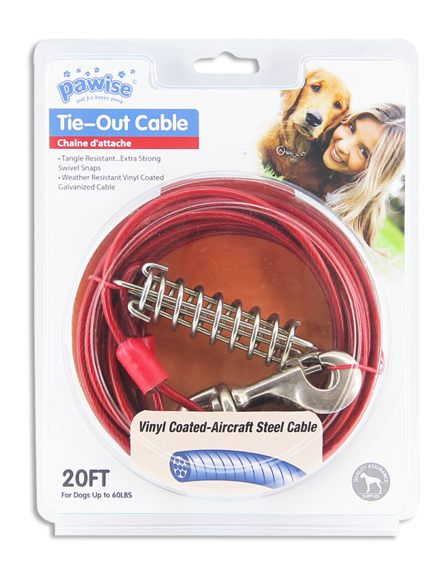 Pawise: Heavy Duty Tie Out Cable - 20FT (Upto 120LBS),Red/Blue Asst.