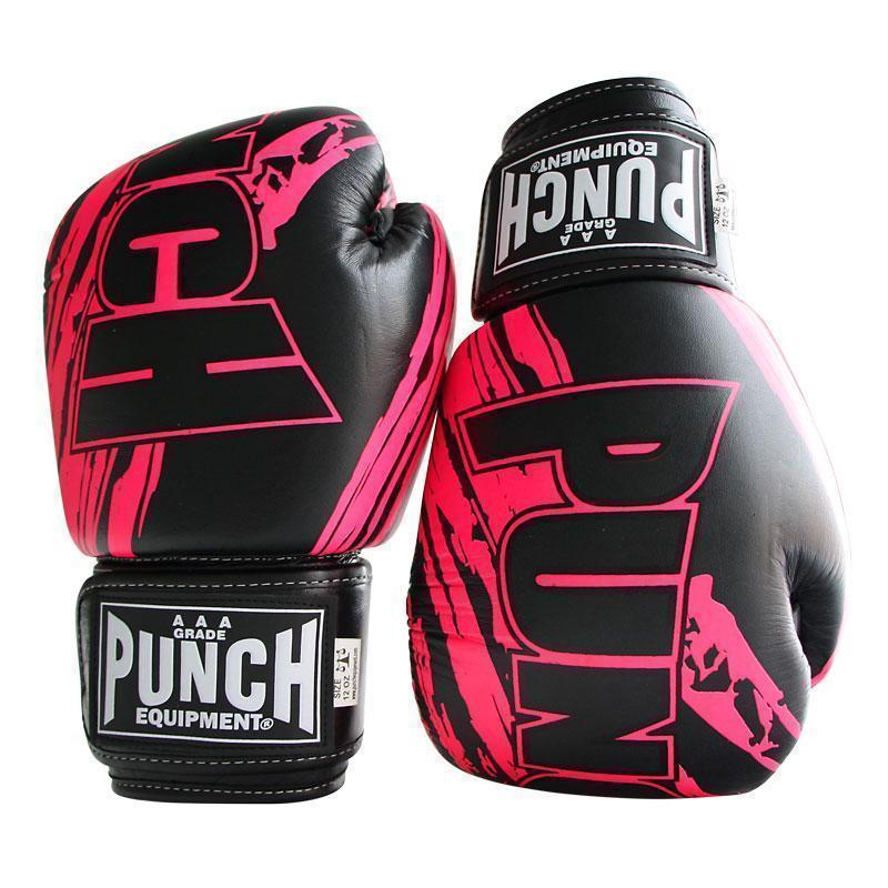 Punch: Fancy Kickboxing Gloves - 16.oz (Hot Pink & Black) image
