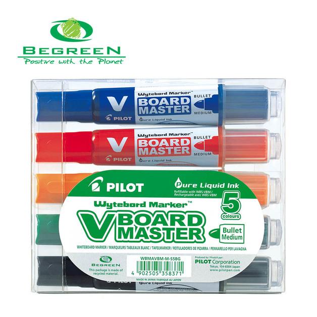 Pilot: BeGreen V Board Whiteboard Marker Bullet Asstd - 5 Pack
