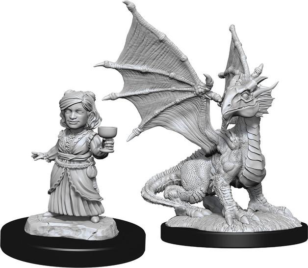 D&D Nolzur's Marvelous: Unpainted Miniatures - Silver Dragon Wyrmling & Female Halfling
