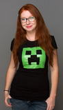 Minecraft Creeper Glow in the Dark Face Women's T-Shirt - Medium