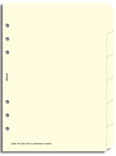 Filofax - A5 Blank Index - Cream (6 Tabs)