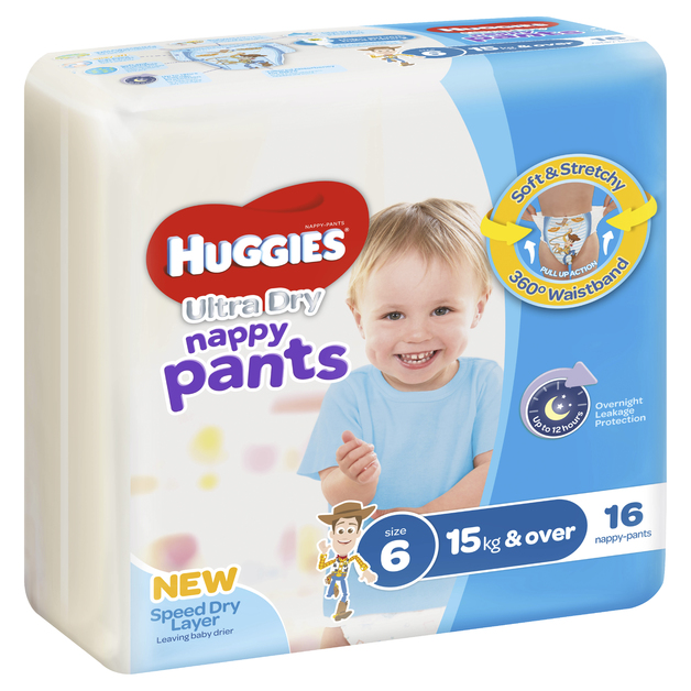 Huggies Ultra Dry Nappy Pants - Size 6 Junior Boy (16)