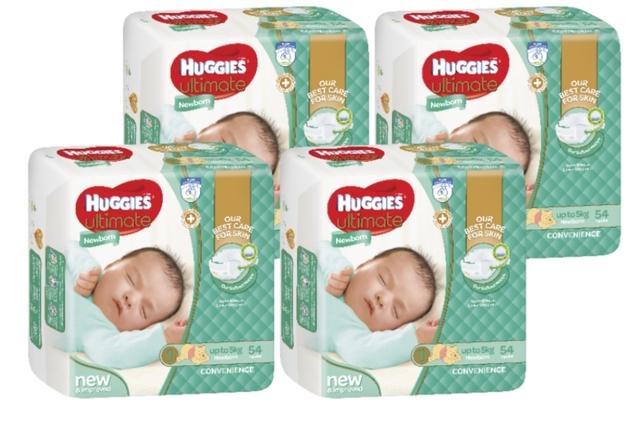 Huggies Ultimate Nappies Bulk Shipper - Newborn - Up to 5kg (216)