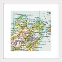 Nelson Vintage Map Print - Framed