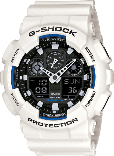 Casio G-Shock Analogue/Digital Mens White XL-Series Watch GA-100B-7A