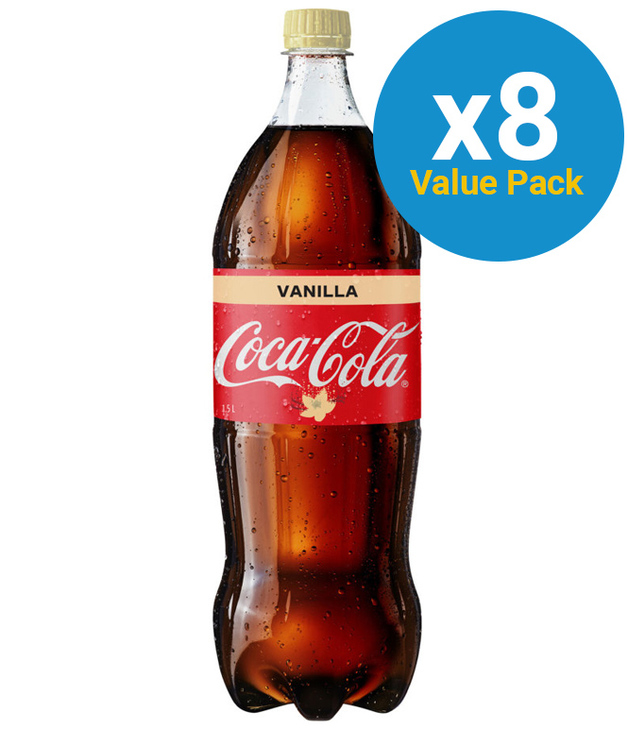 Vanilla Coke Soft Drink 1.5l (8 Pack)