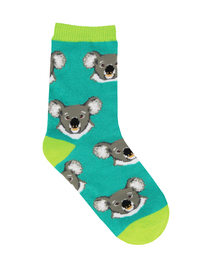 Kid's (7-10 Years) I Love Eucalyptus Crew Socks - Teal