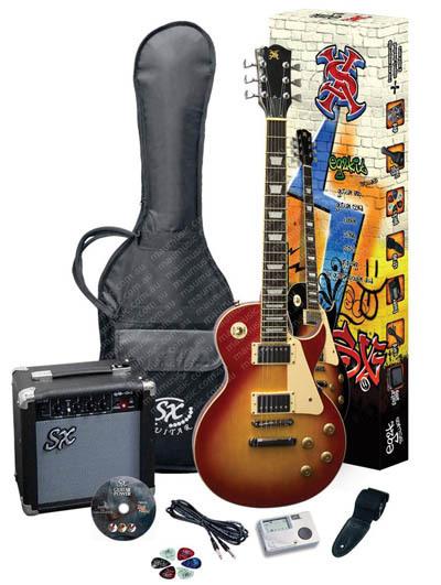 sx eg2k 39 les paul 39 electric guitar starter pack cherry sunburst at mighty ape nz. Black Bedroom Furniture Sets. Home Design Ideas