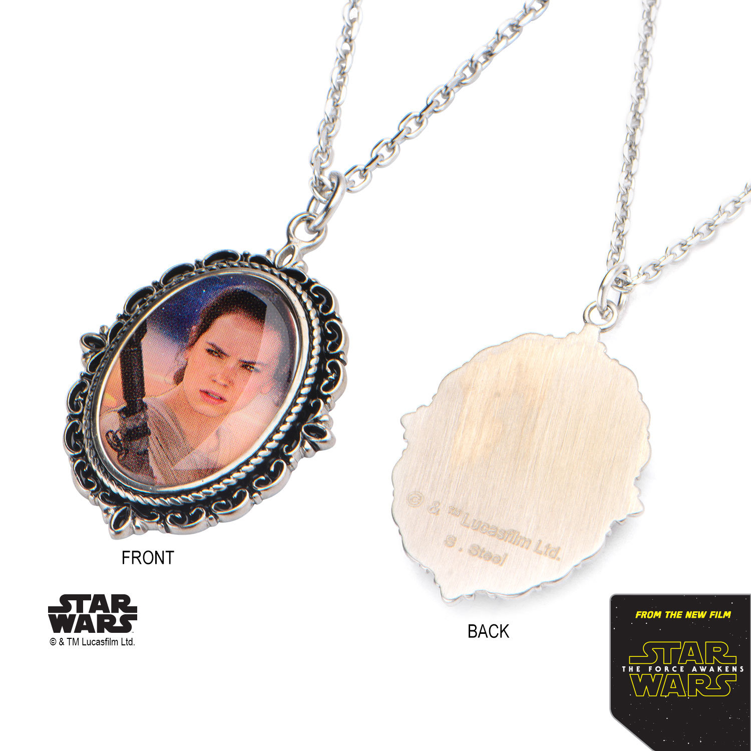 Star Wars Stainless Steel Rey Cameo Pendant image