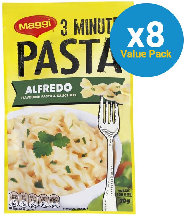 Maggi 3 Minute Alfredo Pasta 70g (8 Pack)
